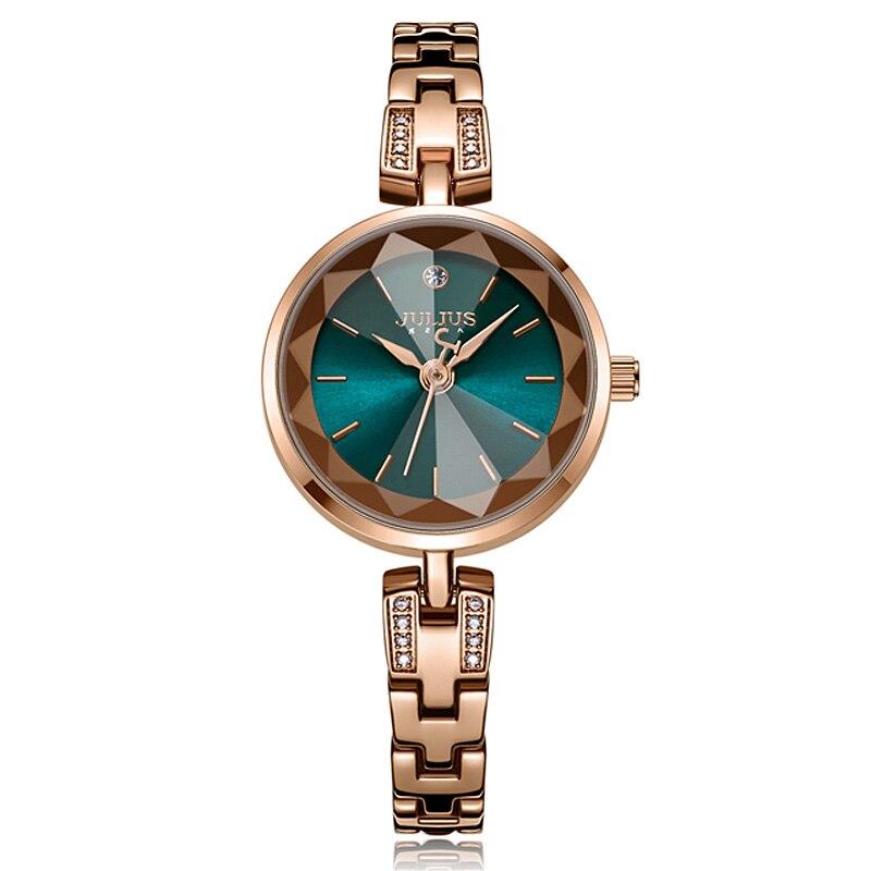Julius Women Watches JA-1103 Stainless steel watch band  Bracelet Ladies Wrist Clock Quartz Chain Small Claw-setting Gift Box