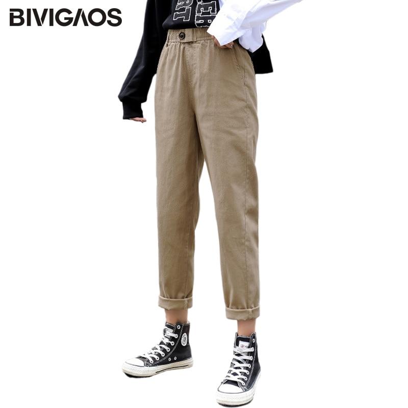 BIVIGAOS New Spring Women Clothing Straight Overalls Casual Harem Pants Korean Elastic Waist Triangl