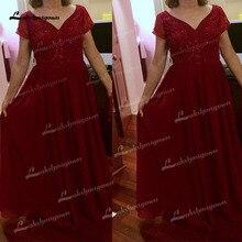 A-Line Red Chiffon Sequins V Neck Short Sleeve Floor-Length Mother Of The Bride Dress robe de la mer