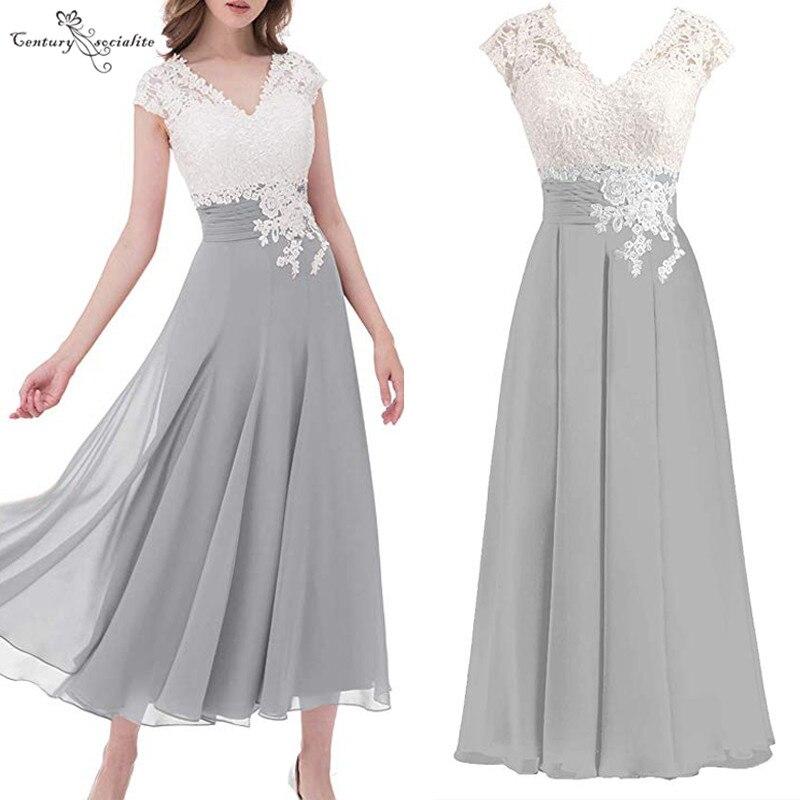 فستان أم العروس دانتيل رمادي ، طول الكاحل ، فستان زفاف من الشيفون ، فستان سهرة رسمي