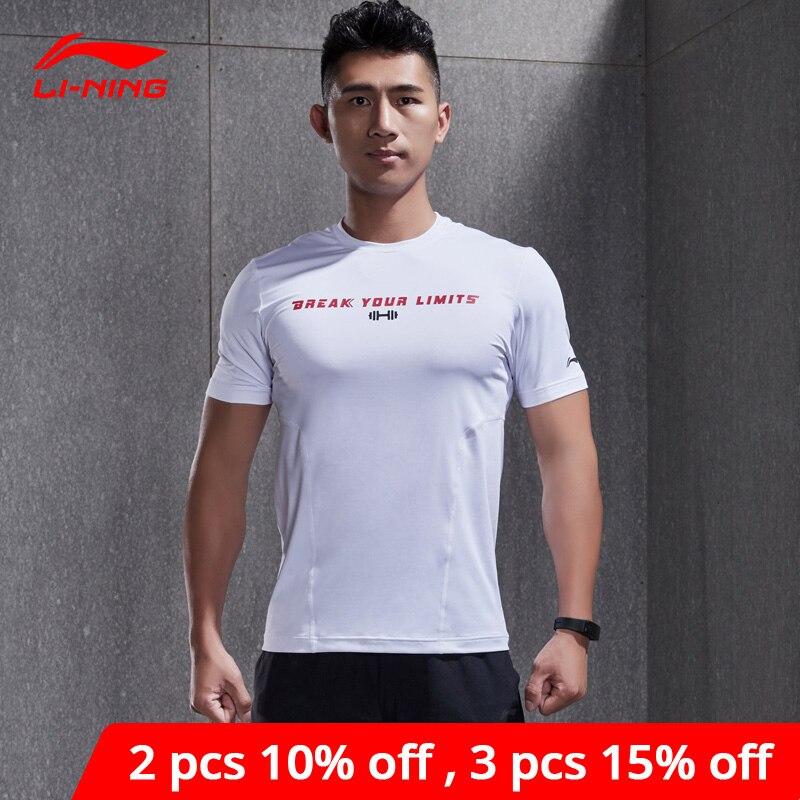Li-ning hommes entraînement Sport couche T-Shirts respirant coupe ajustée 86% Polyester 14% Spandex Li Ning doublure Sport t-shirt ATSN077 MTS2813