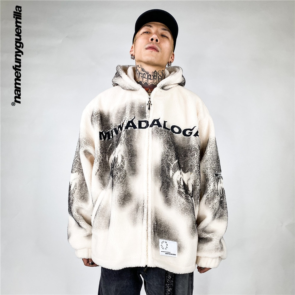 Namefunyguerrilla Vintage polar fleece padded clothes men's Hooded Jacket Parkas japanese plus size jackets for men NB2087