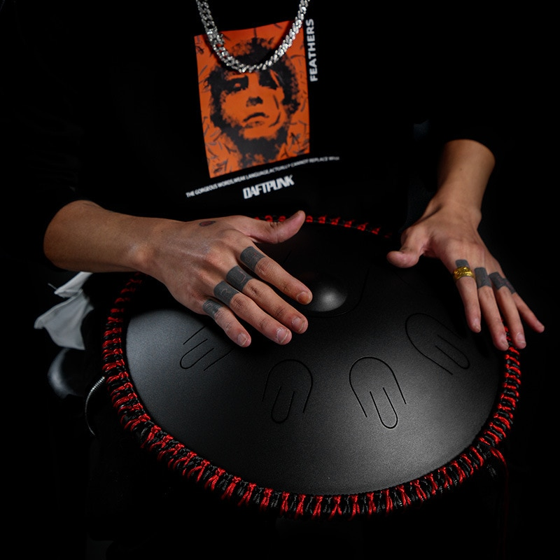 Hluru A D Minor 9 notes tones Handpan Tambourine Ethereal Steel Tongue Professional Drummer Musical Instrument percussion Drum enlarge