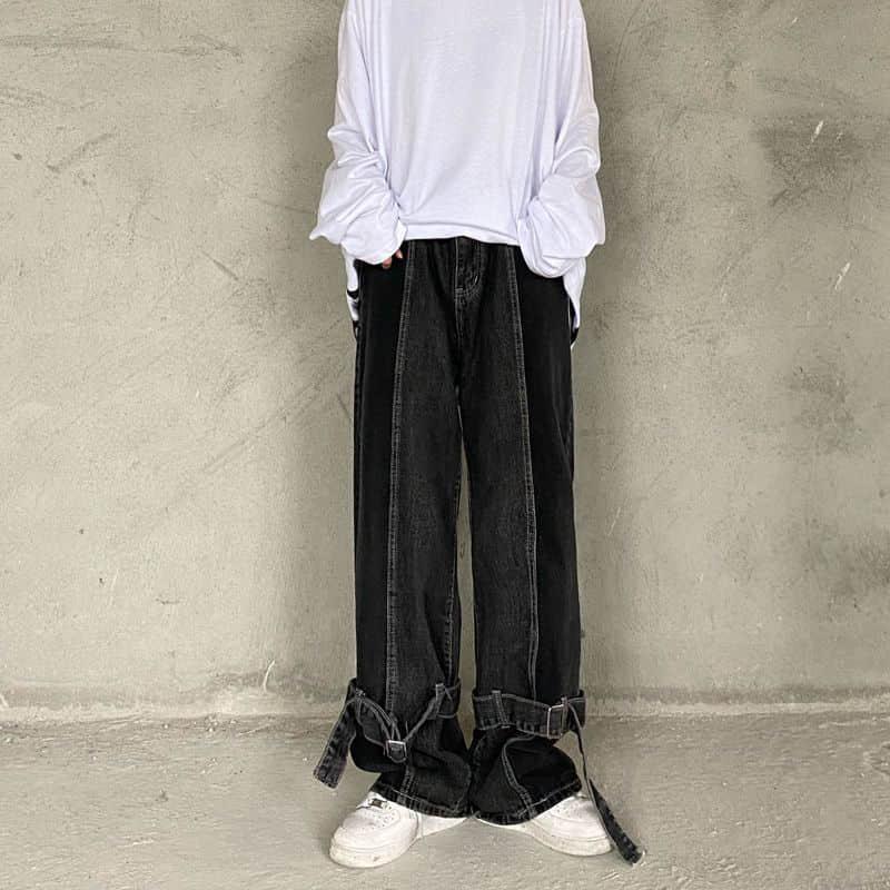 Джинсы для мужчин и женщин, мужские темные ретро брюки с эффектом потертости, свободные прямые широкие брюки
