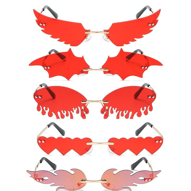 2020 Luxe Mode Vlam Wing Frame Bat Flame Zonnebril Vrouwen Randloze Wave Zonnebril Metal Shades Spiegel Brillen