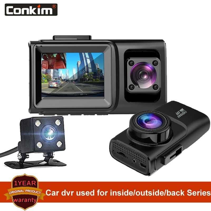 Cámara de salpicadero Conkim con 3 lentes de soporte interior/exterior/trasero, cámara de coche dvr con ir-cut incorporado
