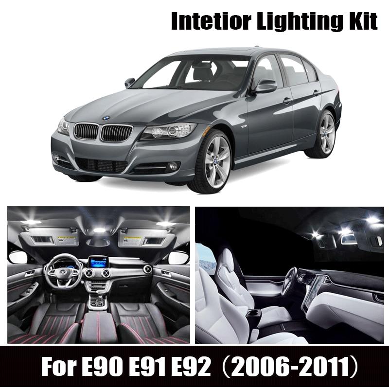 Juego de luz Interior LED de 9 Uds + lámpara frontal de cúpula + luces de mapa trasero + bombilla de espejo de tocador para BMW E90 3 series E91 E92 (2006-2011)