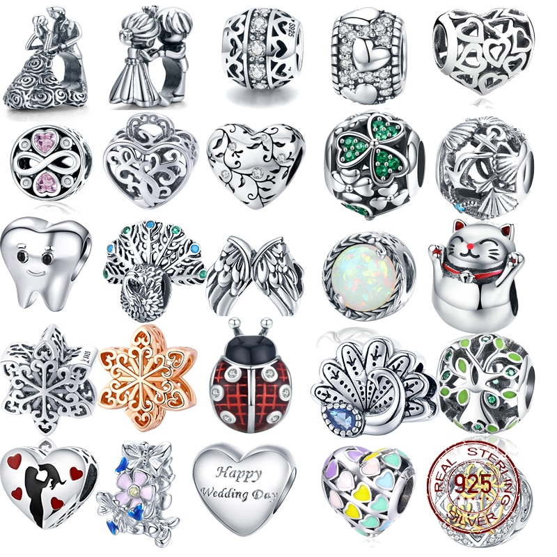 2017 crystal radiant heart sterling silver beads fit authentic pandora charms bracelet silver 925 original for jewelry berloque 925 Sterling Silver Love Berloque Heart Charm CZ Beads Fit Original Bracelet Bangle Authentic DIY Charms For Jewelry Making Gift
