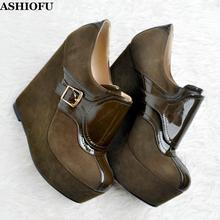 ASHIOFU Handmade New Womens Wadge Heel Pumps Buckle-strap Night-club Party Dress Shoes Platform Evening Fashion Court Shoes