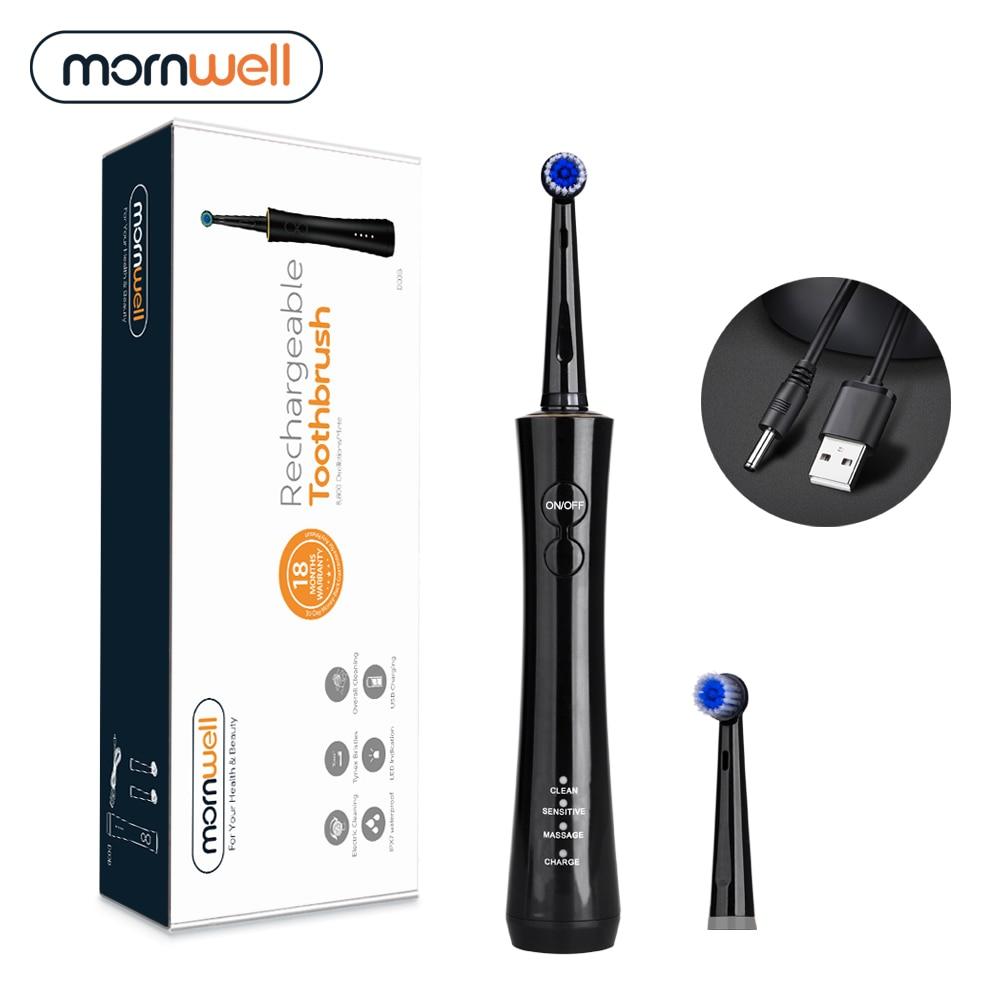 Mornwell الكهربائية الدورية فرشاة الكبار الموقت فرشاة USB قابلة للشحن الكهربائية فرشاة الأسنان مع 2 قطعة استبدال فرشاة رئيس