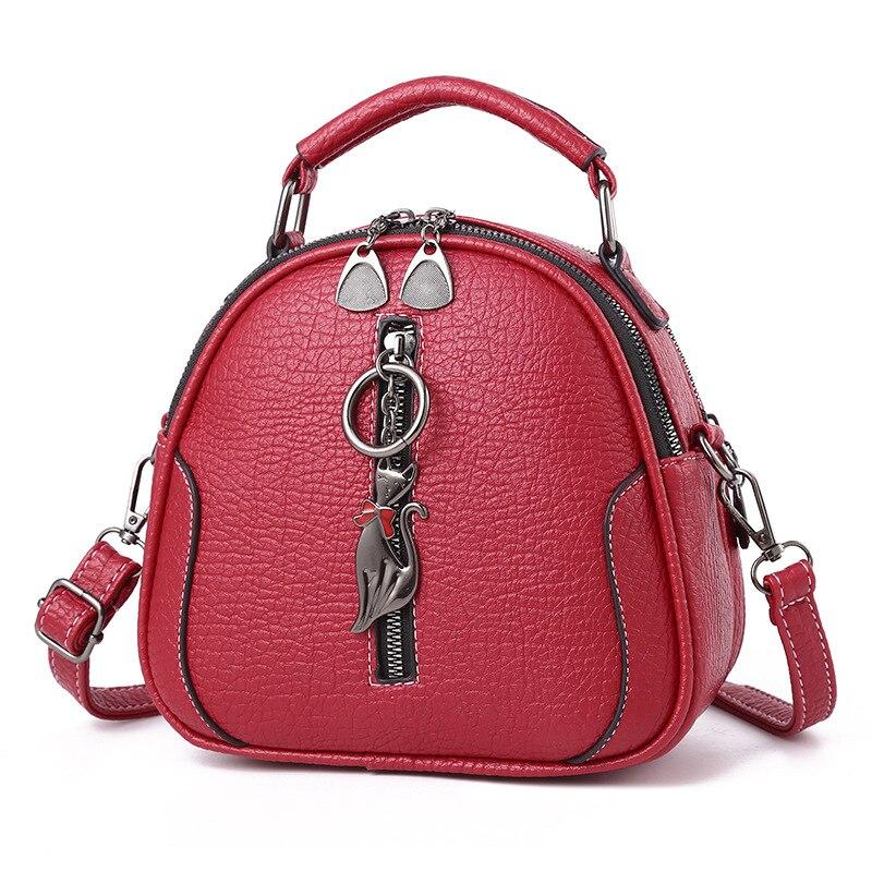 Women Mini Shoulder Bags Small PU Leather Cat Pendants Lady Girl Tote Handbags