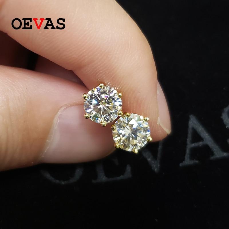 OEVAS-أقراط من الفضة الإسترليني عيار 1 قيراط للنساء ، أقراط صغيرة ، لون ذهبي عيار 18 قيراط ، 100% ، 925 فضة استرلينية ، زفاف ، حفلة