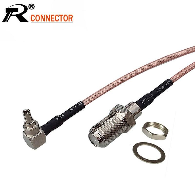 10 unids/lote F a CRC9 Cable RF F hembra a CRC9 macho ángulo recto cable en espiral rg316 15 cm/50 CM/100 CM para Huawei 3G/4G módem USB