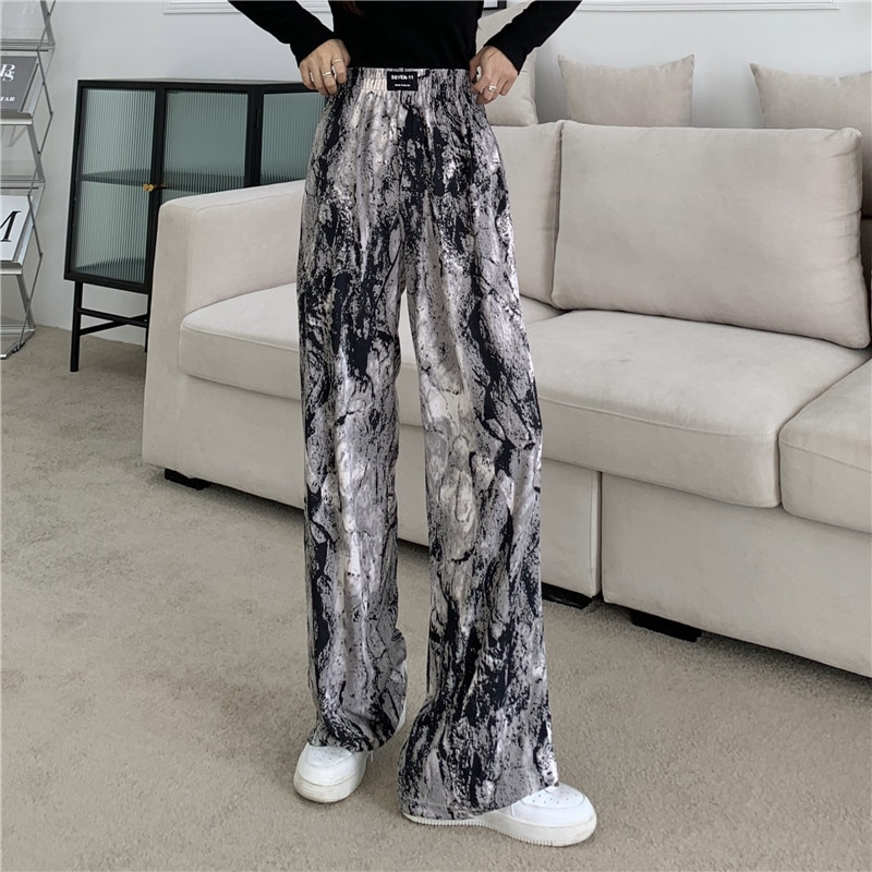 Spot Large Size Women's Clothing Autumn Straight Tie-Dyed Ink Painting Wide-Leg Pants High Waist Cas