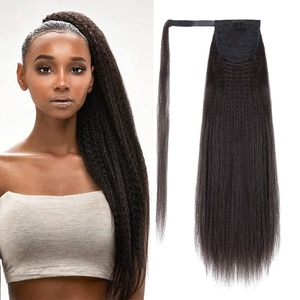 30-Inch Synthetic Hair Fiber Heat-Resistant Straight Hair With Ponytail Fake Hair Chip-in Hair Extensions Pony Tail