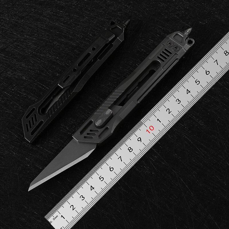 DICORIA District 9 X cortador de papel cuchillo de corte de titanio mango bisturí cuchillas cuchillo poda cuchillas para artesanías al aire libre cuchillos EDC herramienta