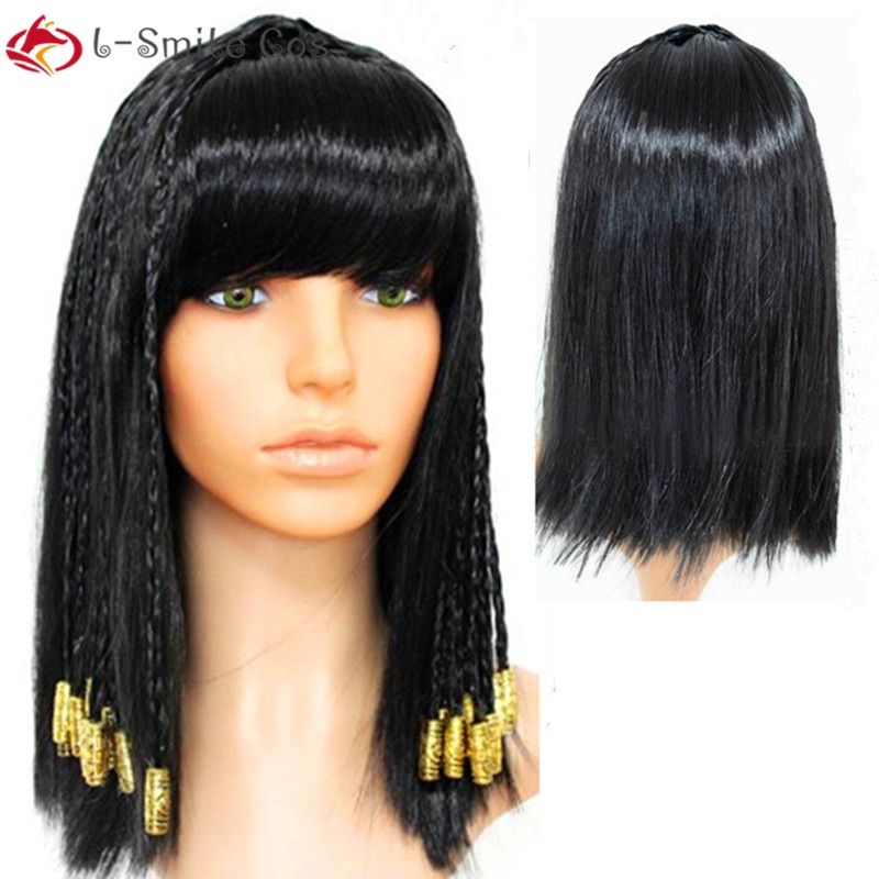 Black Cleopatra Wig Decoration Ancient Egypt Hair Halloween Party Hair for Women Vintage Hair Queen Cosplay + Wig Cap