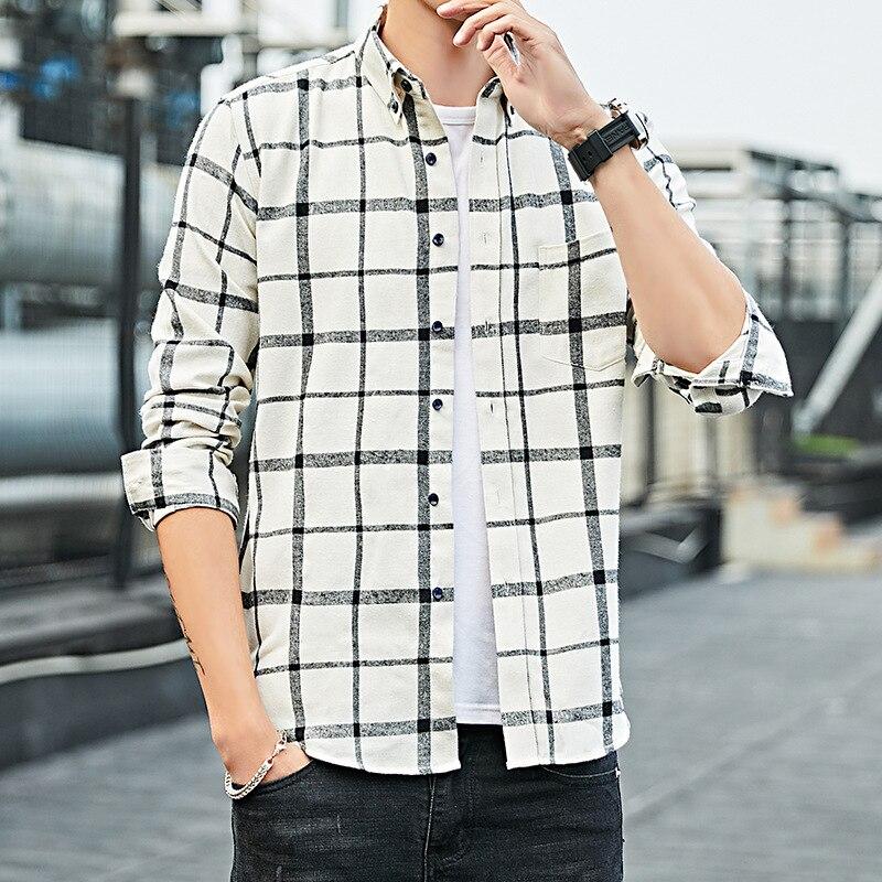 Мужская одежда, новинка 2021, мужская клетчатая рубашка с длинным рукавом, Корейская Облегающая рубашка, универсальная Молодежная рубашка, тр...