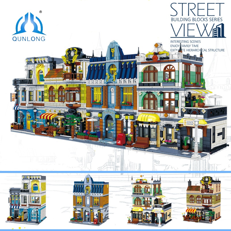 QUNLONG City Buildings Sets Coffee Shop House Hotel Architecture Restaurant Store Building Blocks City Street View Bricks Toys 280 pcs mini city street view building blocks coffee shop hamburger store city diy bricks toys for children christmas gifts