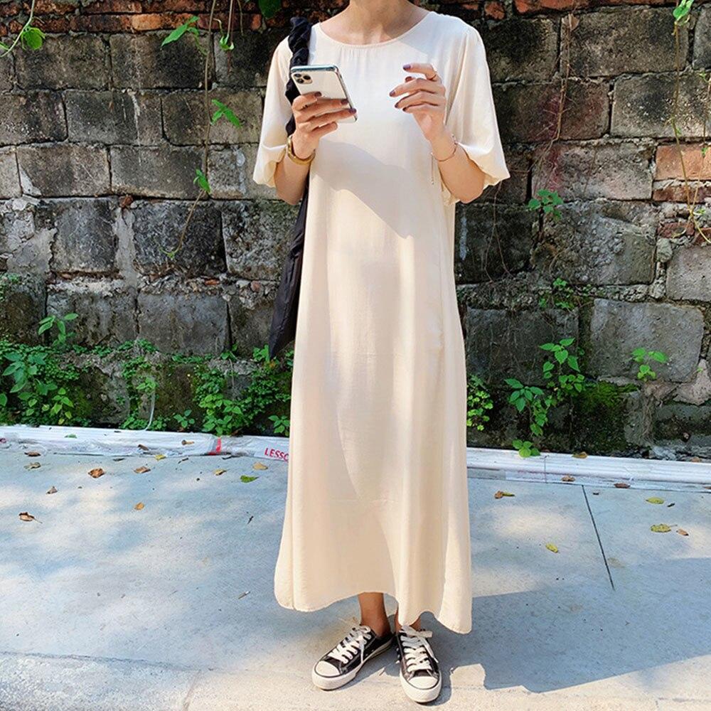 Dress2021 Japanese Style Korean Fashion New Temperament Solid Color Simplicity Round Neck Lantern Sl