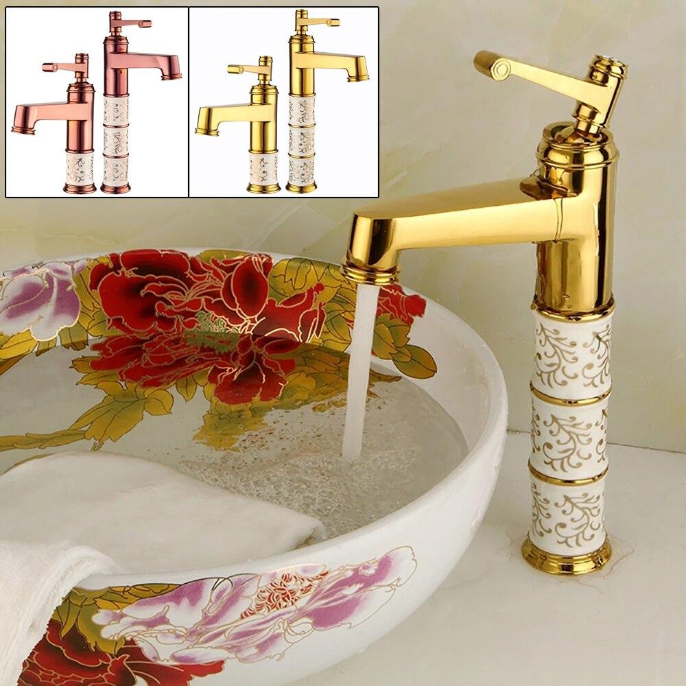 Grifo de baño con encimera de latón dorado/rosa, grifo de lavabo giratorio de un solo Mango, grifo mezclador de agua caliente y fría