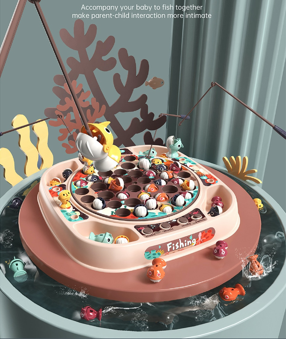 Детская игрушка для рыбалки, электрическая вращающаяся игрушка для рыбалки, имитация игры, игровой домик для мальчиков и девочек, игрушка д...