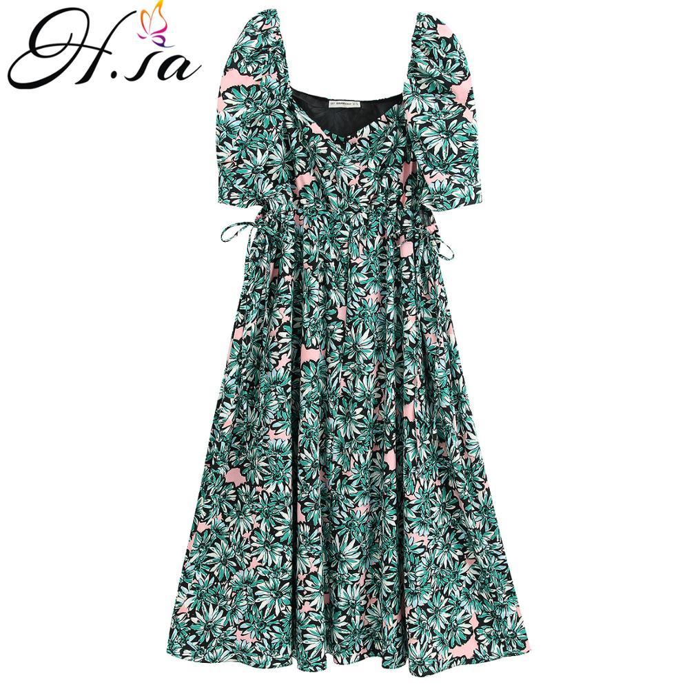 H.SA Women Long Dresses Short Sleeve High Waist Green Floral Long Vestidos Pleated Robe Dress Beach Style Holiday wear Summer