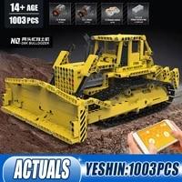 17024 high tech car the app control engineering bulldozer rc caterpillar d8k setassembly building blocks kid christmas toys gift