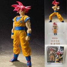 Aktion Super Saiyan Gott Rot Haar Goku SHF Action Figur Spielzeug Sammler Spielzeug Anime Dragon Ball Super Goku Modell Ändern-gesicht Puppe