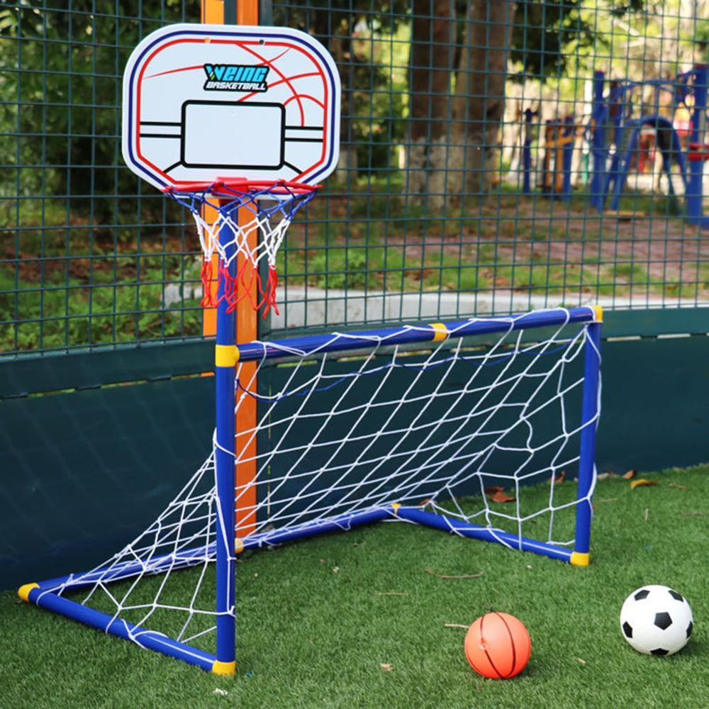 2 in 1 Basketball Hoop Kids Soccer Goal Set with Basketball Stand Pump Soccer Net for Backyard Children Outdoor/Indoor Toys