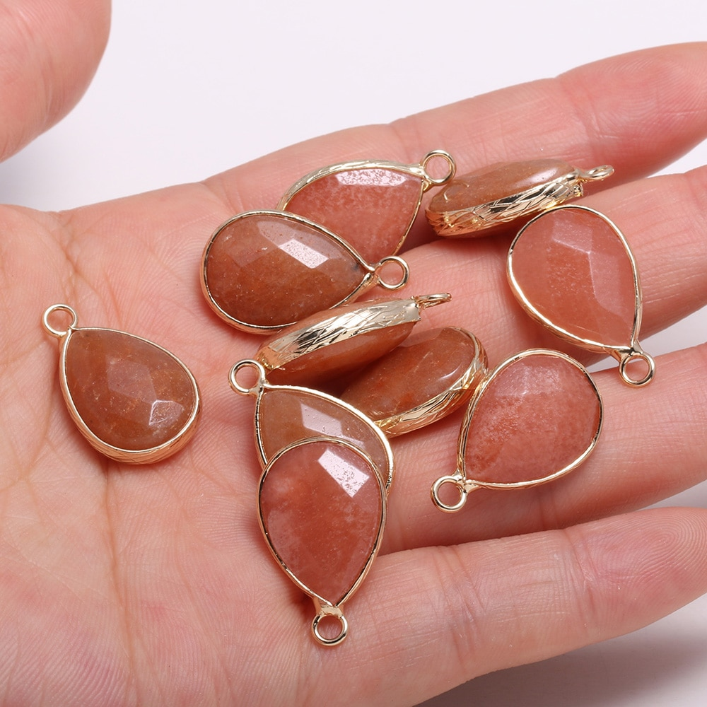 3 piezas amuleto de pierda Natural gota de agua cristal Jades amarillos piedra Pendants13x23mm para fabricación de joyería DIY, collar, pendientes,