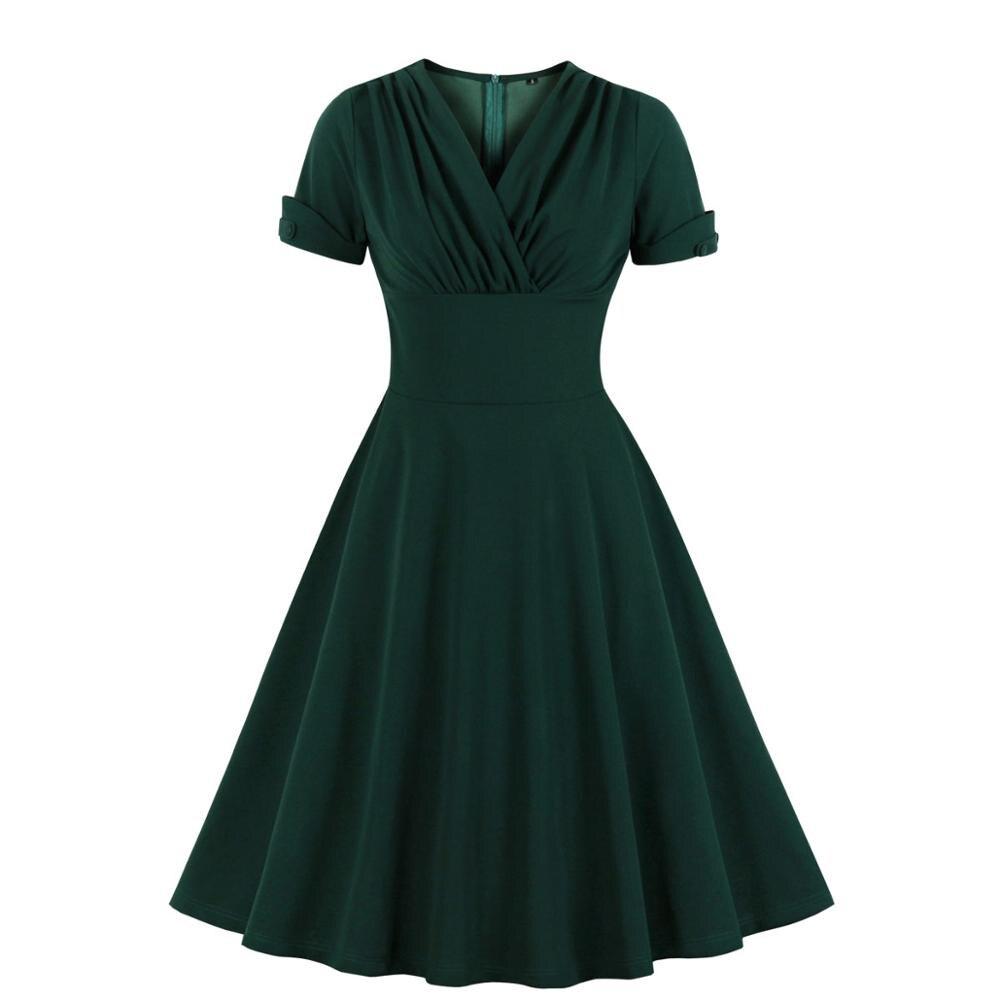 Frauen V Neck Wrap Hohe Taille Solide Retro 40s 50s 60s Vintage Kleid