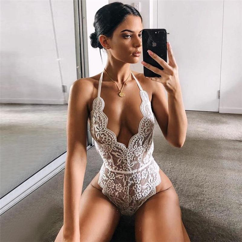 ¡Gran oferta 2019! Body de encaje con Espalda descubierta, Body transparente para mujer, Body sexi de 2019, monos con escote en V profundo para mujer