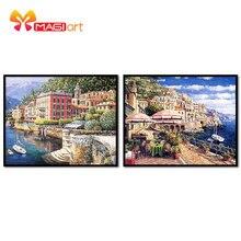 Kits de punto de cruz juegos de costura bordados 11CT patrones de lona solubles en agua 14 ct pintura al óleo ciudad de Mar Scenery-NCMS037