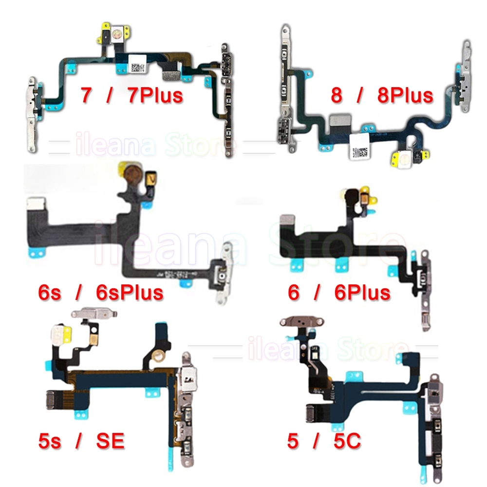 chenghaoran 50 100 pcs for iphone 4 4s new power volume switch key button replacement OEM Mute & Volume Power Button key Switch Flex Cable For iPhone 6 6s 7 8 Plus 5 5s SE With Metal Power Flex Replacement