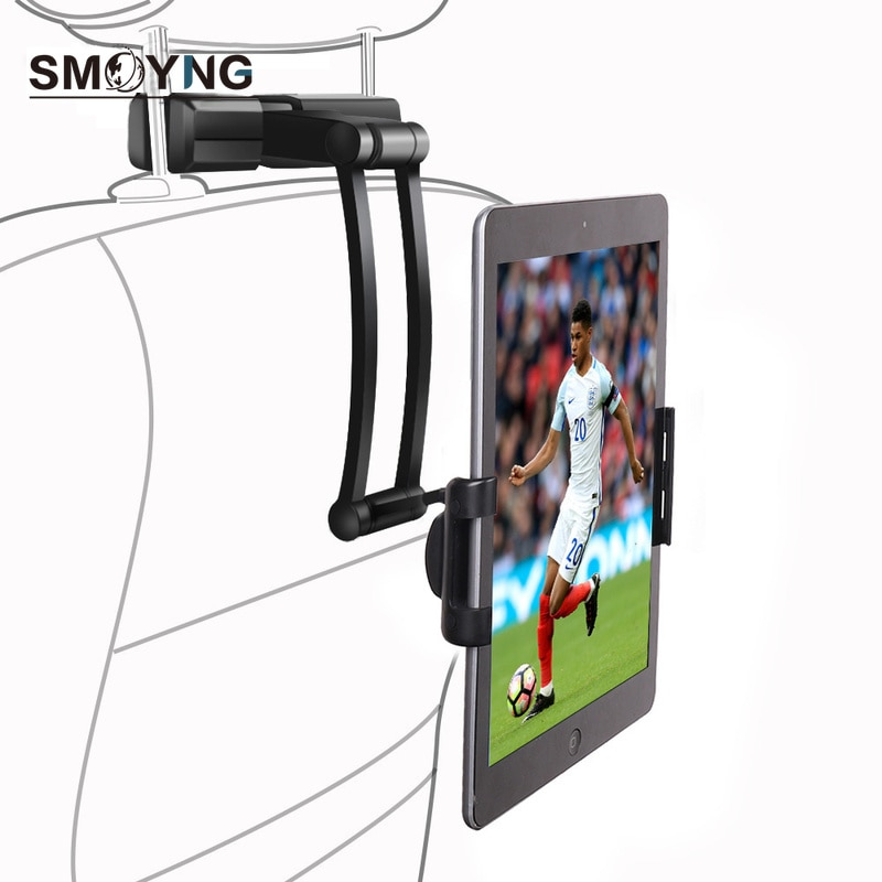 AliExpress - SMOYNG Aluminum Back Seat Headrest Tablet Phone Car Holder Stand For 5-13 Inch iPhone iPad Air Mini 2 3 4 Pro 12.9 Support Mount