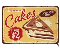 homemade cakes tin signschocolate and caramel sweets and desserts vintage metal tin sign for men womenwall decor for