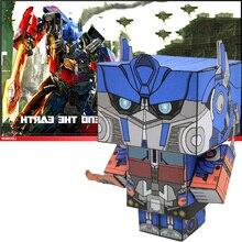 Sans colle Optimus Prime transformateurs pliant 3D papier modèle Papercraft Anime jeu Figure bricolage Cubee enfants adulte artisanat jouets CS-051