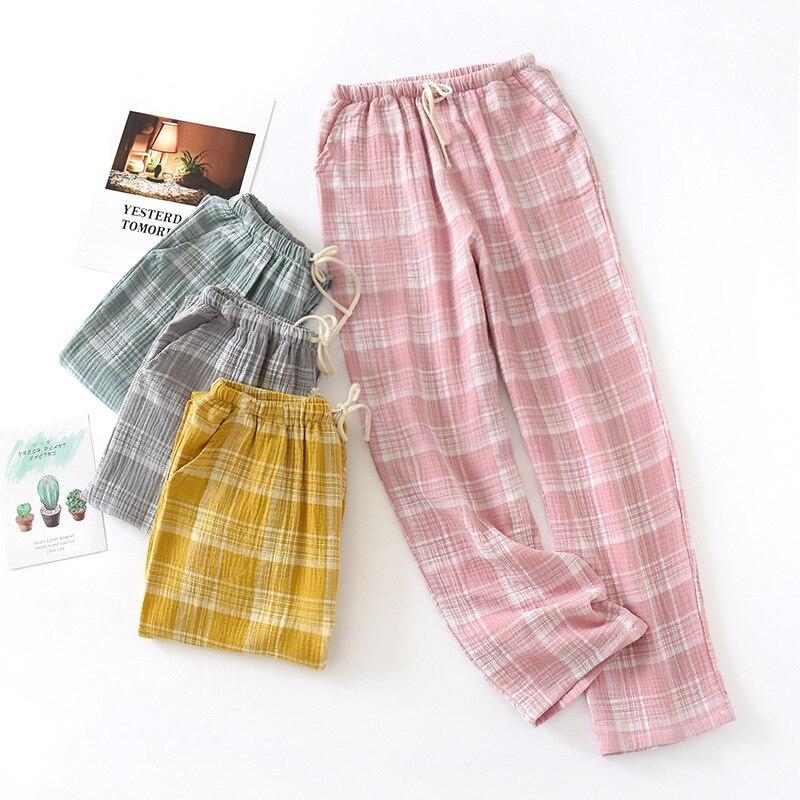 Frauen Hause Hosen 100% Baumwolle Casual Crepe Plaid Rosa Frühling Sommer Schlaf Tragen Boden Weibliche Kordelzug Dünne Pyjama Hose Hose