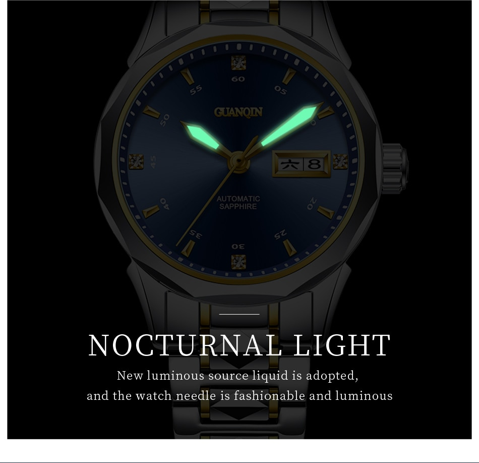 Guanqin Women watch Japan Mechanical Movement Automatic luxury brand Tungsten steel waterproof watches Date Week Montre Femme enlarge
