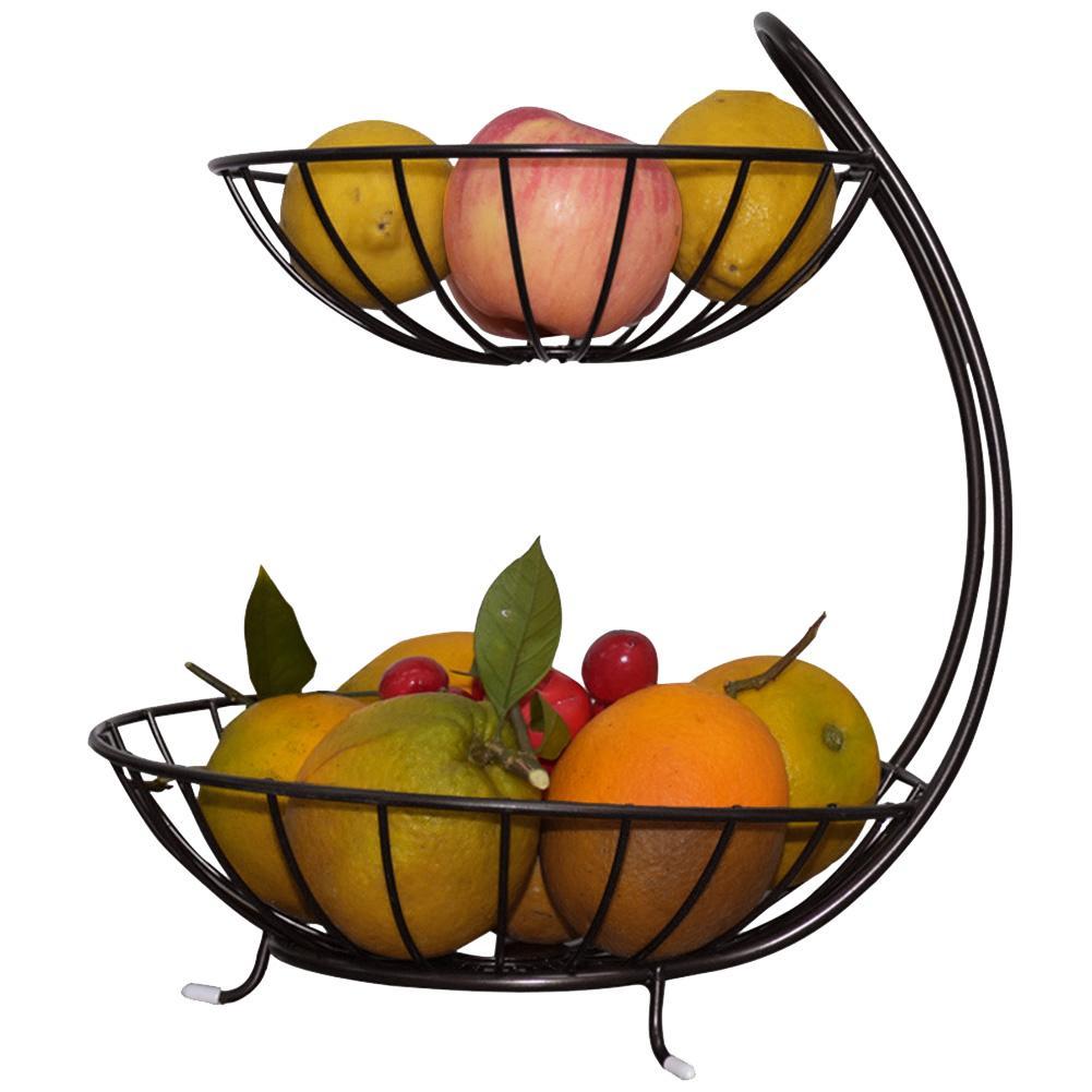 الحديد المطاوع طبقة مزدوجة سلة فاكهة استنزاف المعادن سلة التخزين صينية منضدة غرفة المعيشة ديكور ل وجبة خفيفة الفاكهة 2021