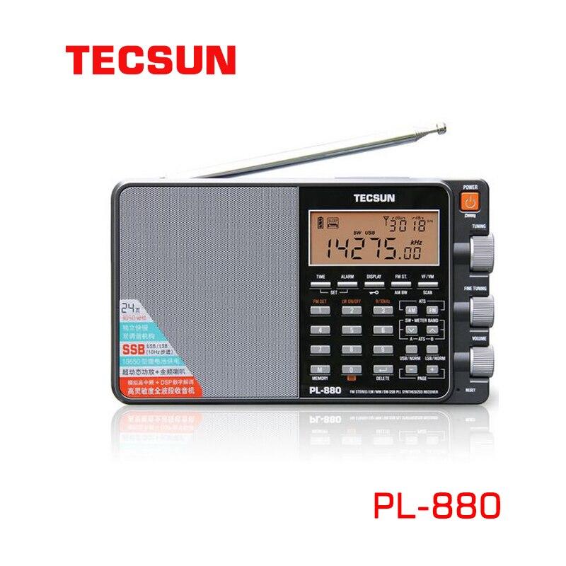 Tecsun PL-880 راديو كامل الفرقة الرقمية ضبط ستيريو الموجات القصيرة لحم الخنزير راديو المحمولة Am Fm LW/SW/MW/SSB الراقية استقبال المعادن
