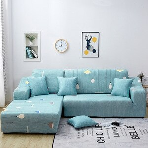 1/2/3/4-Seater Blue Floral Printing Stretch Elastic Sofa Cover Cotton Sofa Towel Slip-resistant Sofa Covers for Living Room Full