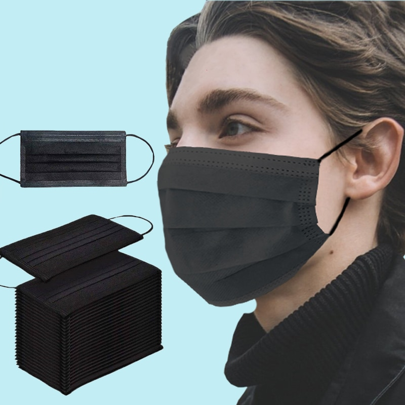10-200pcs Disposable Medic Mouth Mask Anti Dust Black Face Mask 3 Ply Non-woven Breathing  Facial Mask Filter Surgical Mask