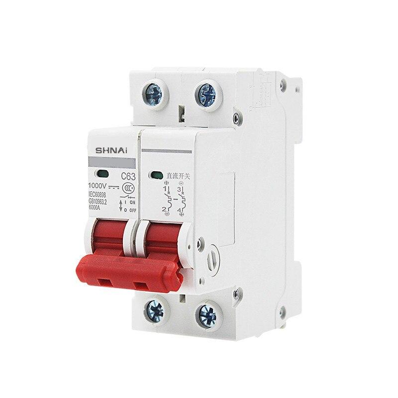 Mini interruptor Solar de protección de sobrecarga DC 1000V interruptor de protección de sobrecarga 6A/10A/16A/20A/25A/32A/40A/50A/63A 2P DC1000V MCB fotovoltaico