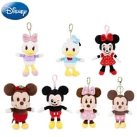 genuine 7 styles disney 15cm kawaii mickey minnie daisy anime plush doll keychain pendant action figure model toy kids gifts