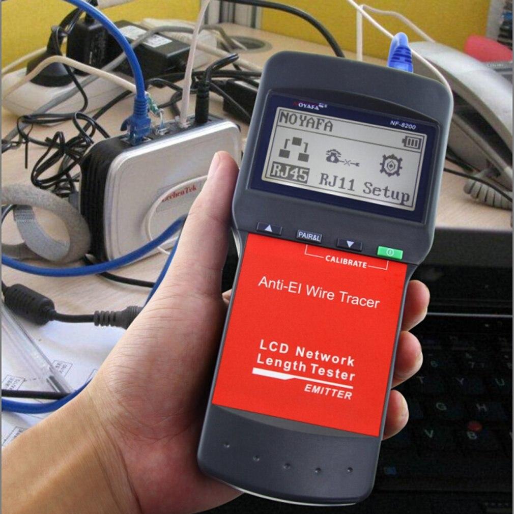 NF-8200 NOYAFA LAN RJ45, probador de Cable de red Ethernet, rastreador de Cable, medidor de longitud de Cable con pantalla LCD de retroiluminación