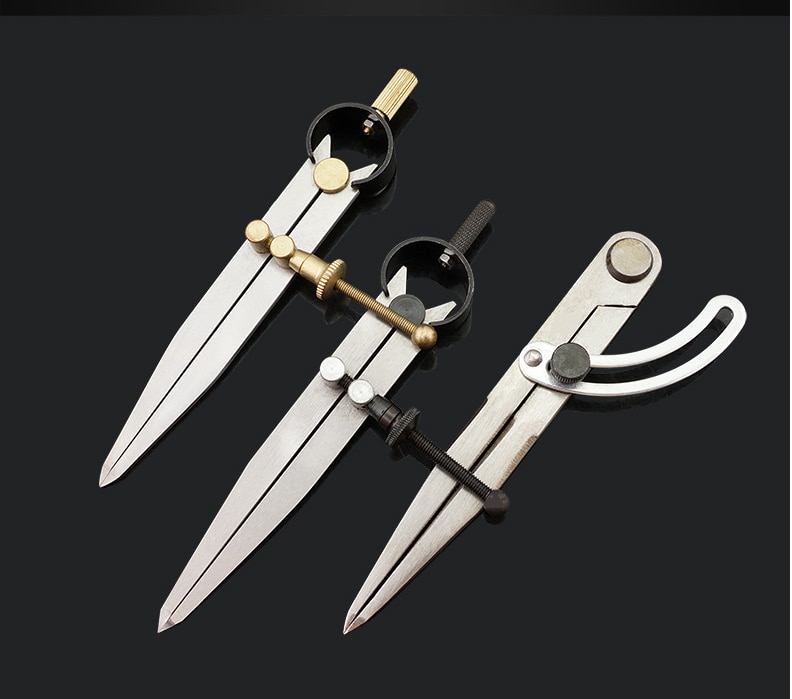 1PC Carbon steel Scriber Divider Wheel Compass Leather Stitch Hole Distance Measure Compass Leather Divider Tool spacing compass leather craft rotating sewing handmade tool wing divider spacing compasses edge creaser tools