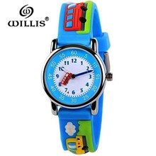WILLIS Fashion Quartz Children Watch Diversity Cartoon Buses 3D waterproof Watches Bright Color Styl