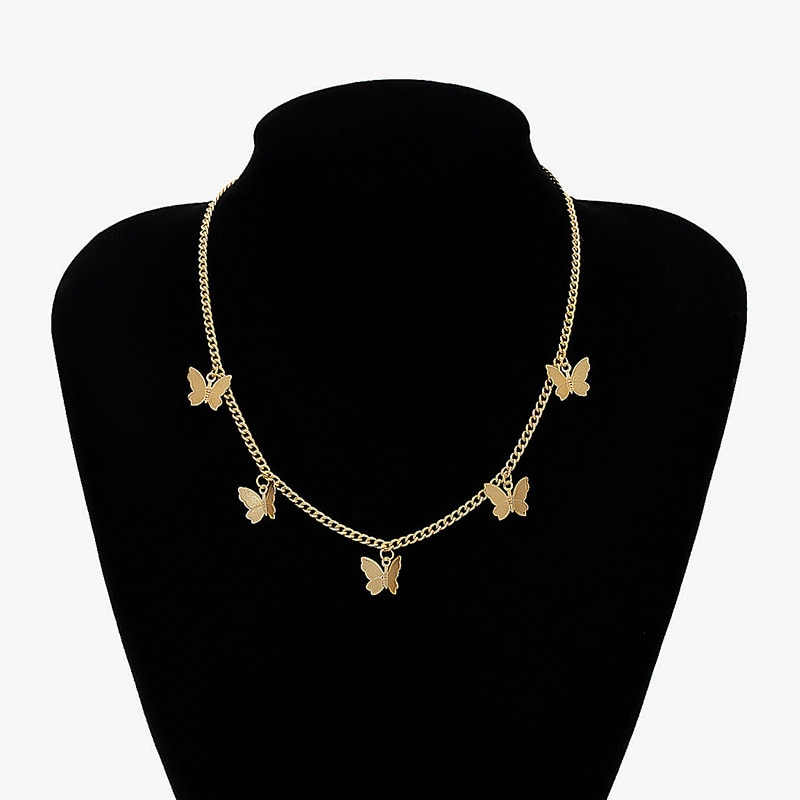 Colar de pingente de borboleta gargantilha colar de borboleta cor de ouro clavícula corrente colares para mulheres meninas jóias barato